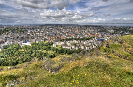 the crags: View over Edinburgh from Salisbury Crags in Holyrood Park
