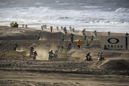 knock out: Scheveningen, Holland - November 28, 2015: People participating in the Red Bull Knock Out motocross race on the public beach at Scheveningen, Holland on November 28, 2015.