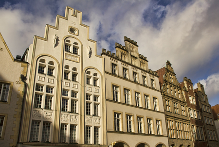 gables: Gables of historical buildings on Prinzipalmarkt street in Munster, Germany Stock Photo