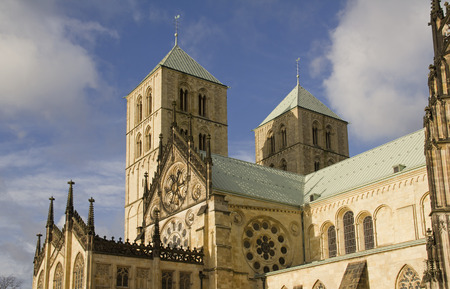 paulus: Saint Paulus Cathedral in Munster, Germany, in winter sunlight and blue sky with clouds