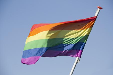 homosexuales: Bandera del arco iris contra un cielo azul en viene hacia fuera d�a para los homosexuales