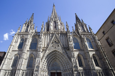 barcelona cathedral: Facade of the Cathedral of Barcelona, Spain