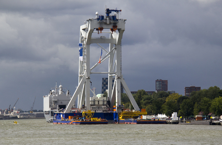 holland: Giant offshore crane on a vessel on show in Rottardam, Holland