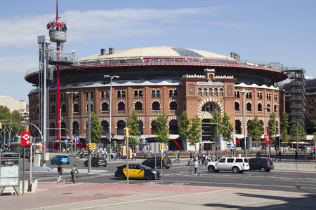 renovated: Barcelona, Spain - May 24, 2015: The bullfight arena of Barcelona, renovated and changed into a shopping center in Barcelona, Spain on May 24, 2015.