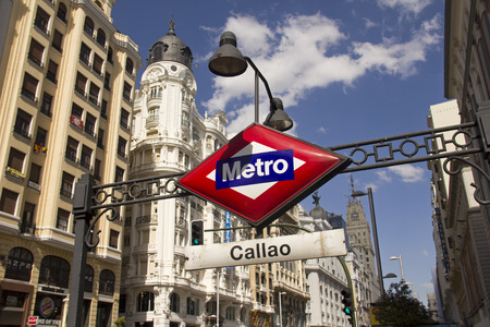 gran via: Spain,Madrid - May 27, 2016: Subway sign of metro station in the Gran Via main street in Madrid, Spain on May 27, 2016 Editorial