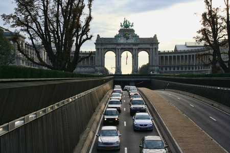 tunneling: Brussels, Belgium - October 22, 2006: Traffic of cars on a highway tunneling underneath the Arch of Triumph in Brussels, Belgium on October 22, 2006 Editorial