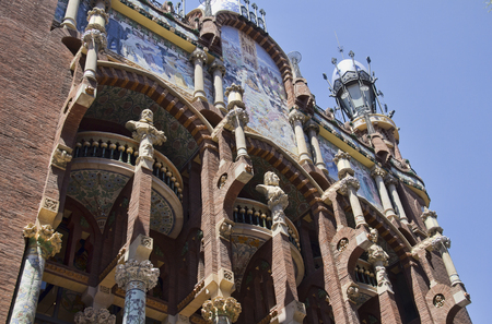 catalunya: Barcelona, Spain - May 28, 2015: Opera building in spanish architecture of Barcelona, on May 28, 2015 in Barcelona, Spain