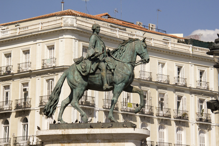 Historical statue of King Philip III on the Plaza Mayor in Madrid, Spain Editorial