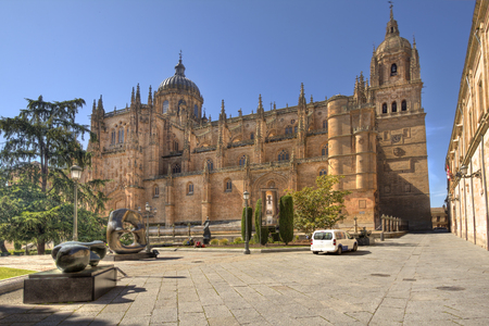 The famous cathedral of Salamanca, Spain, seen from Plaza de Anaya square