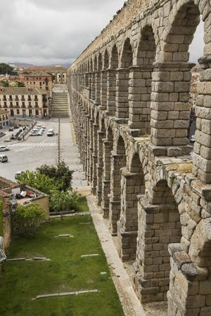 The famous Roman Aquaduct in Segovia, Spain Editorial