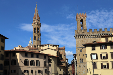 Piazza di San Firenze plaza with historica towers and buildings in Florence, Italy Stock Photo