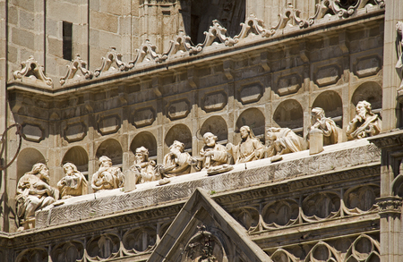 Sculpture of the last supper of Jesus and his disciples on the cathedral of Toledo in Spain