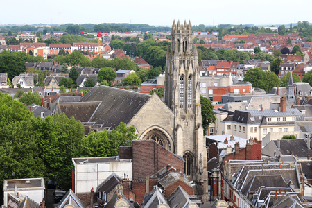 Cathedral and tower and buildings in Arras. France, as seen from the city hall tower Stock Photo