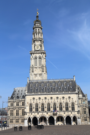 Town hall and belfry tower on the Place des Heros town square of Arras, France