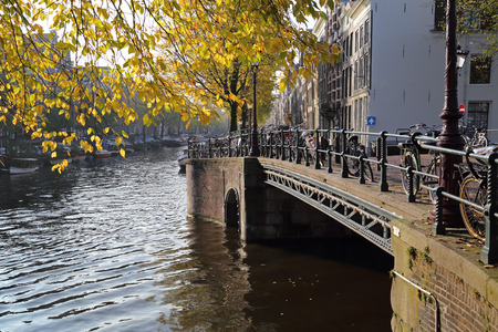 Yellow autumn leaves of a tree hang over an old bridge with parked bicycles across a canal in Amsterdam, Holland