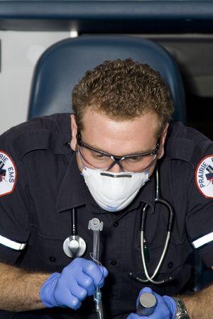 salvavidas: Param�dico intubating Foto de archivo