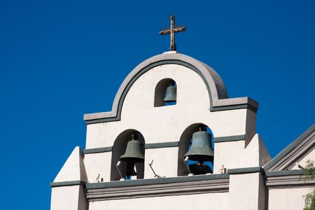 spanish style: Photo of a spanish style mission bell towers Stock Photo