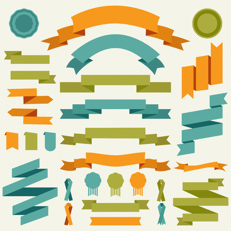 collection of decorative design elements - ribbons, frames, borders, stickers, labels.