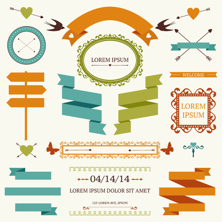 collection of wedding or valentines day objects and signs. Set of holiday decoration elements Vector