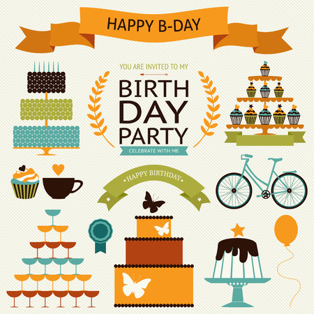 set of birthday celebration decorative icons in vintage colors with artistic elements. Vector