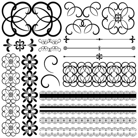 calligraphic design elements: collection of ornamental design elements and objects. Vector collection of ornamental design elements and objects. Black and white floral elements. Illustration