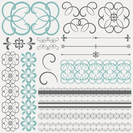 rosette: collection of ornamental design elements and objects. Illustration
