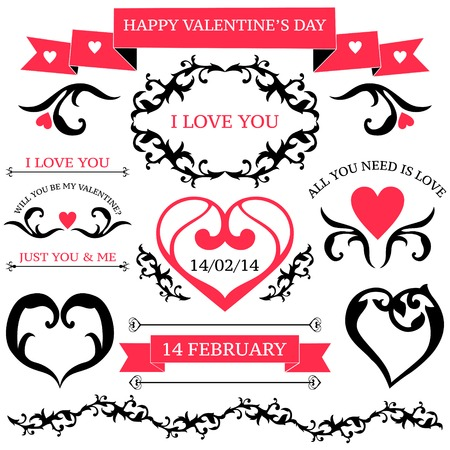 set of valentines day vintage design elements  in tatoo style isolated on white Vector