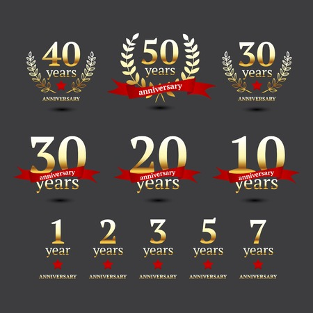 Set of anniversary golden signs, illustration  Vector