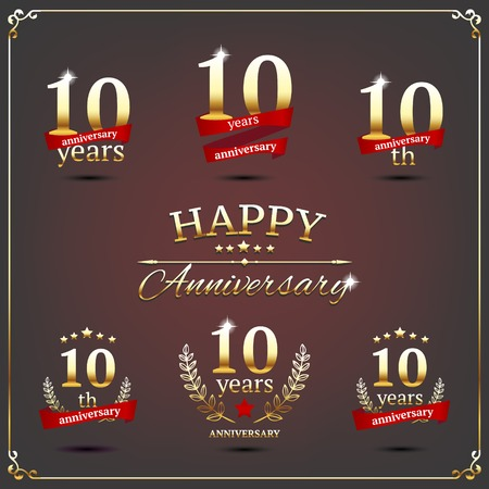 10th: illustration with ten years anniversary signs