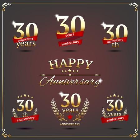Illustration avec trente ans d'signes d'anniversaire Banque d'images - 30014195