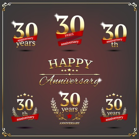 illustration with thirty years anniversary signs  Ilustração