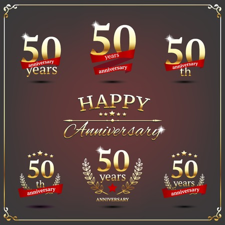 50th: illustration with fifty years anniversary signs