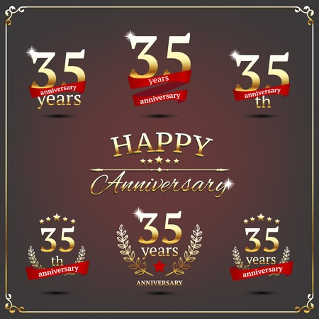 illustration with thirty five years anniversary signs