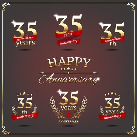 thirty five: illustrazione con 35 anni segni di anniversario