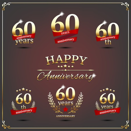 sixty: illustration with sixty years anniversary signs