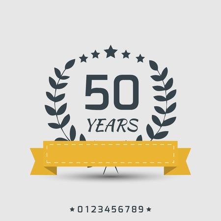 Signe d'anniversaire avec un ruban jaune et satrs Banque d'images - 30014207