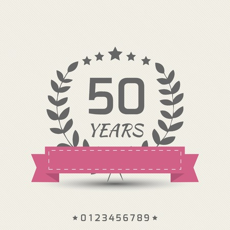 50 years jubilee: anniversary sign with red ribbon and stars Illustration