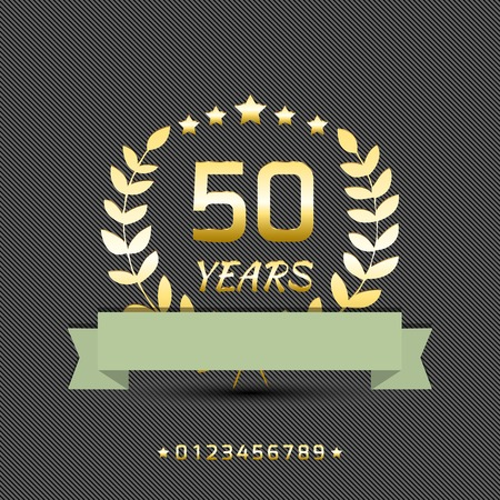 fifty anniversary golden sign with ribbon Vector