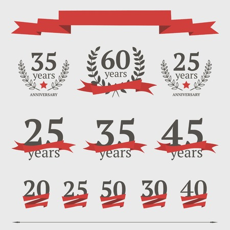 set of anniversary signs with red ribbons Vector