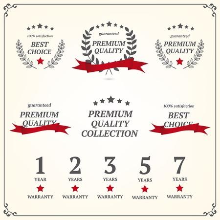 one year warranty: Set of vintage premium quality elements,  Illustration