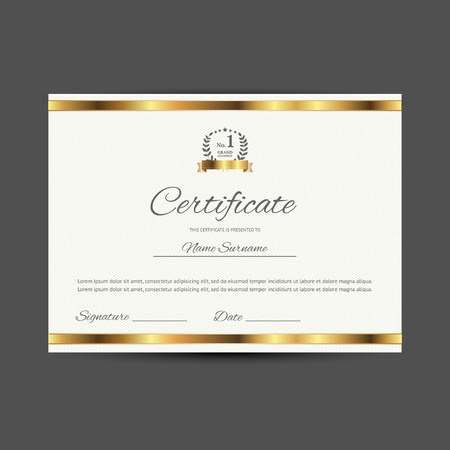 completion: certificate with golden elements, illustration