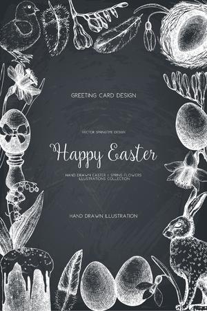 jonquil: . Happy Easter Day vintage design Illustration