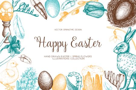 . Happy Easter Day vintage design Ilustração