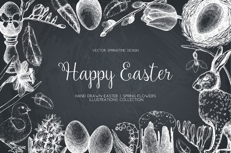 . Happy Easter Day vintage design Illustration