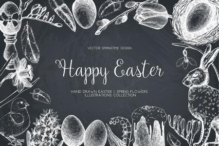 easter cake: . Happy Easter Day vintage design Illustration