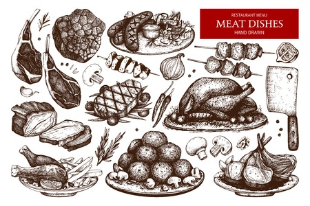 raw beef: Vector collection of hand drawn meat illustration. Illustration