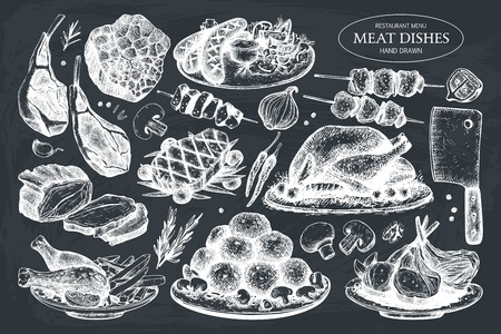 Vector collection of hand drawn meat illustration. Vetores