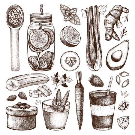 Healthy life sketch collection.