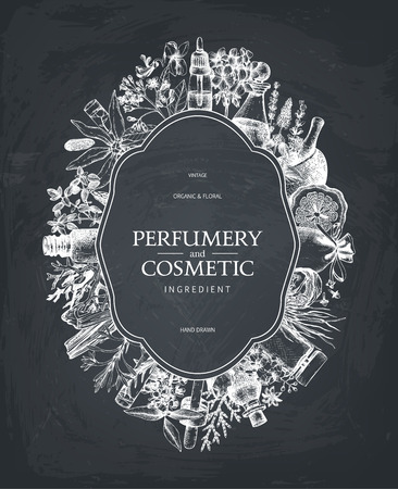 Vintage design with aromatic plants and fruits