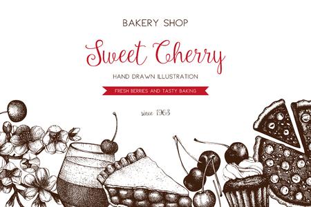 伝統的な桜のケーキとビンテージのテンプレート  イラスト・ベクター素材